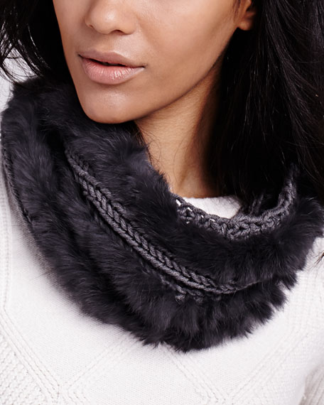 Classic Knit Fur Loop Scarf, Charcoal