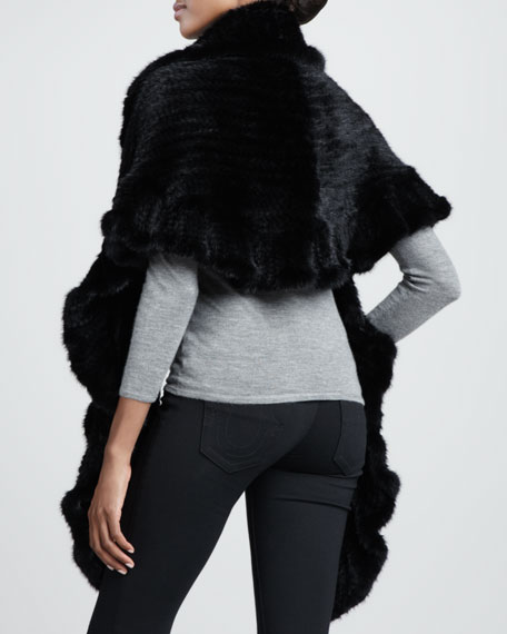 Ruffled Knitted Mink Fur Wrap, Black