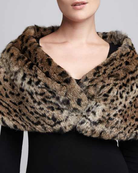 Small Pleated Leopard-Print Rabbit Fur Stole