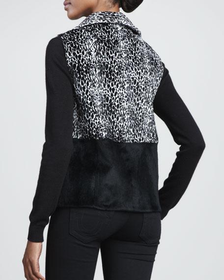 Leopard-Print Rabbit Fur Vest, Black/White