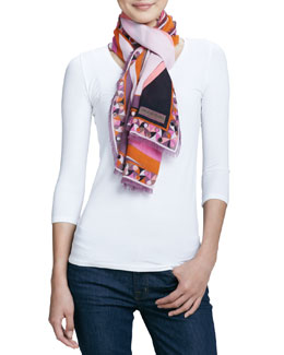 Emilio Pucci Otto Printed Wool Scarf, Orange/Pink