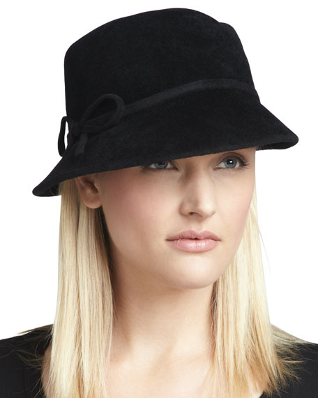 Velour Bow Cap, Black