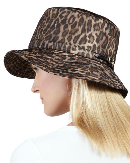 Water-Repellant Leopard-Print Rain Hat