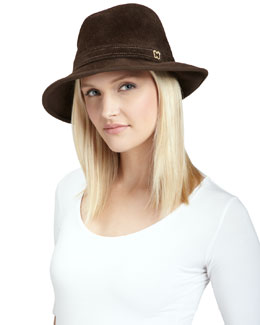 Eric Javits Tracy Velour Belted Fedora, Brown