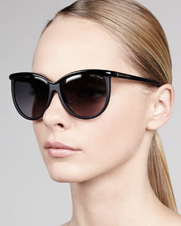 Tom Ford Josephine Enamel Sunglasses, Black