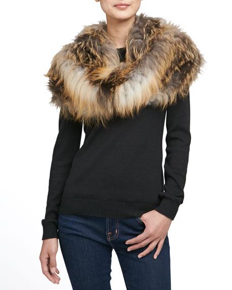 Gorski Layered Fox Fur Cowl Collar, Natural