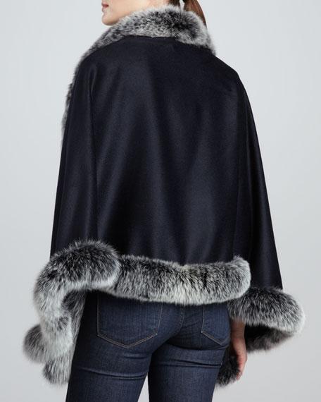Fox Fur-Trim Cashmere Capelet, Navy