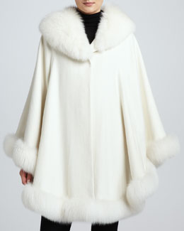 Sofia Cashmere Cashmere Fox Fur-Trim Shawl Cape