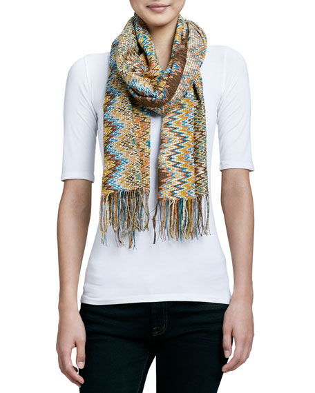 Filament Zigzag Knit Scarf, Brown/Orange/Gold