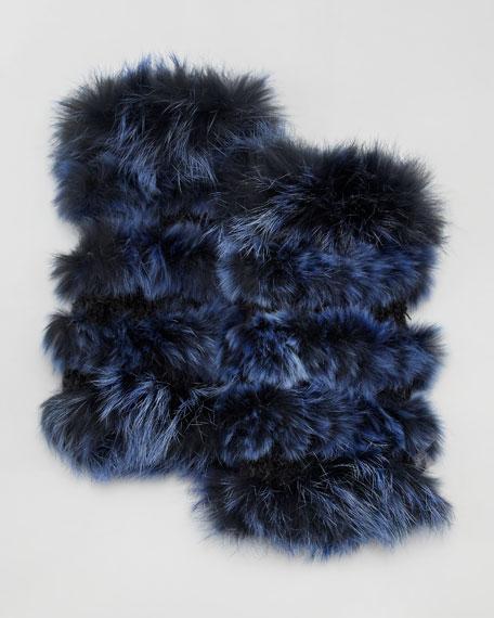 Fingerless Rabbit Fur Mittens, Blue
