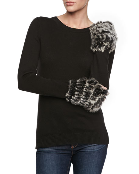 Fingerless Rabbit Fur Mittens, Black