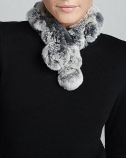 Belle Fare Rabbit Fur Neck Warmer, Gray