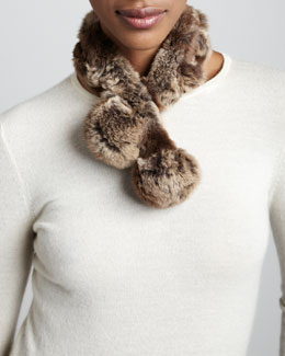 Belle Fare Rabbit Fur Neck Warmer, Gray/Brown