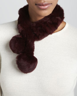 Belle Fare Rabbit Fur Neck Warmer, Wine