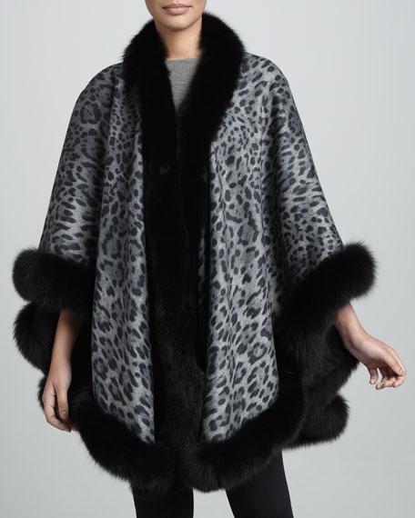 Fox Fur-Trimmed Leopard-Print Cashmere U-Cape, Gray