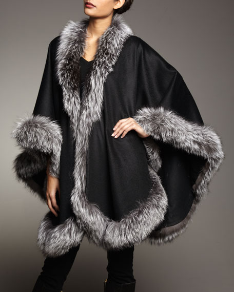 Natural Silver Fox Fur Trimmed Cashmere Cape, Black