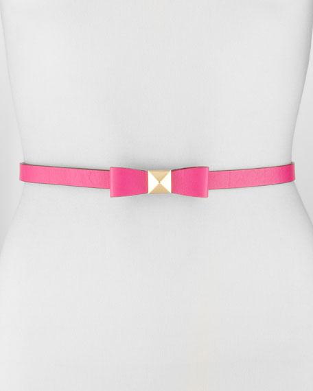 skinny pyramid-stud bow belt, snapdragon