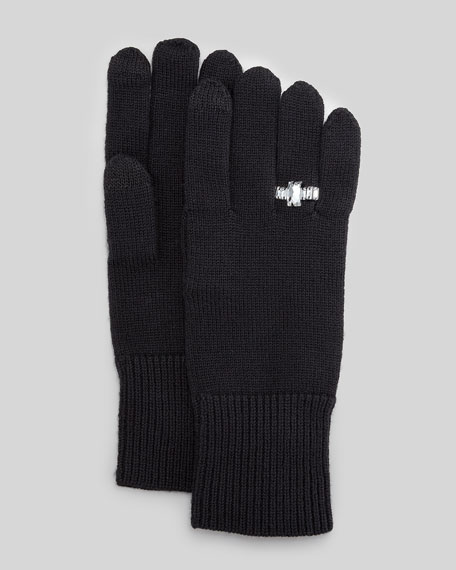 knit gloves with crystal ring, black