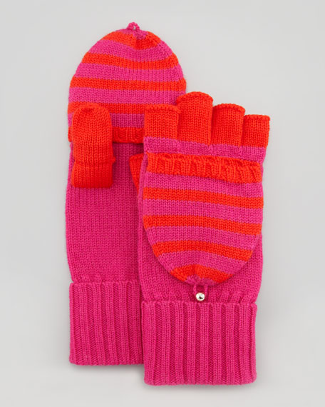 fall in line pop-top mittens, snapdragon/madras