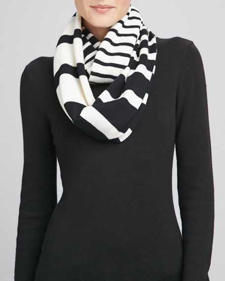fall in line infinity scarf, cream/black