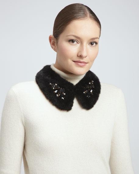 embellished faux-fur collar, black