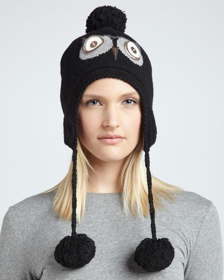 night owl pom-pom hat