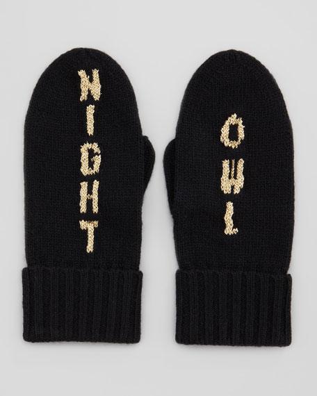 kate spade new york night owl mittens, black/gold
