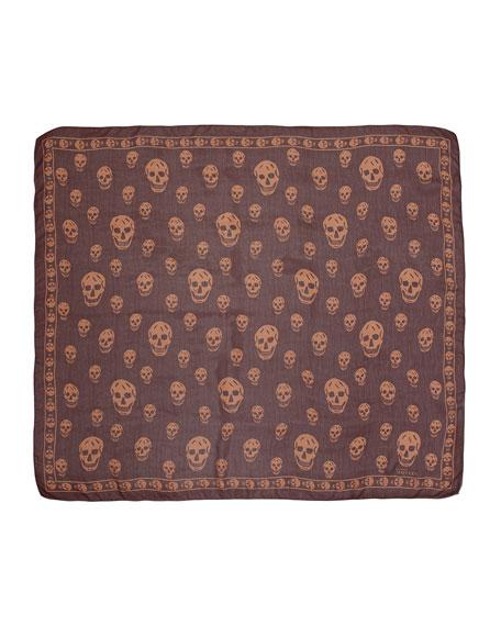 Skull-Print Chiffon Scarf, Brick Brown/Beige