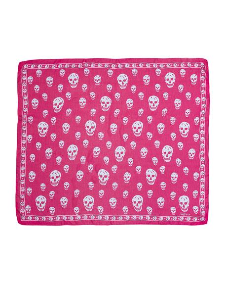 Skull-Print Chiffon Scarf, Pink/Blue