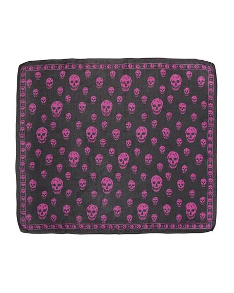 Skull-Print Chiffon Scarf, Gray/Pink