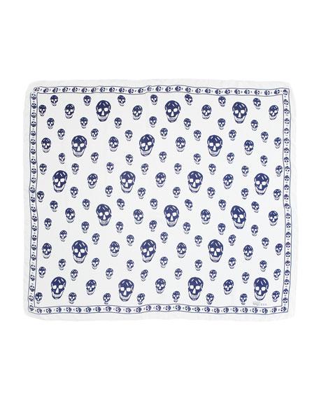 Skull-Print Chiffon Scarf, Ivory/Blue