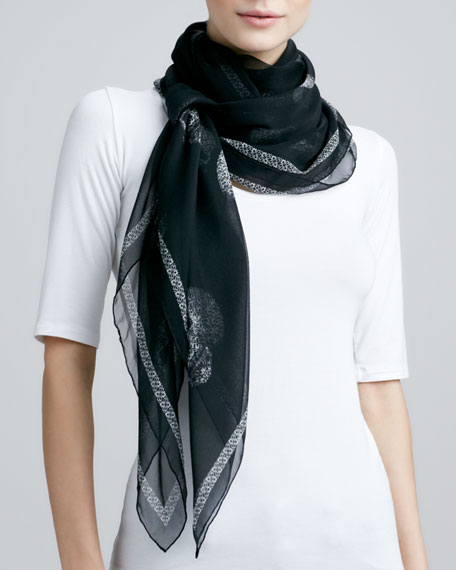 Graphic Lace-Skull Scarf, Black/White