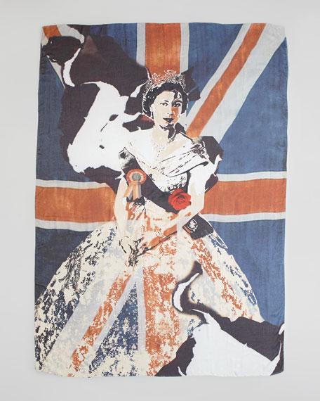 Queen Elizabeth Portrait Scarf, Navy