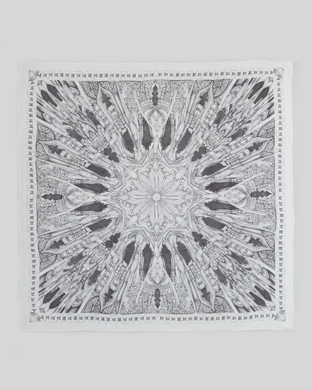 Hand-Drawn Rose Window Silk Scarf, Black/White