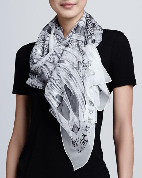 Hand-Drawn Rose Window Silk Scarf, Black/White