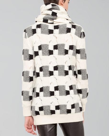 Cashmere Check Jacquard Scarf, Ecru/Black
