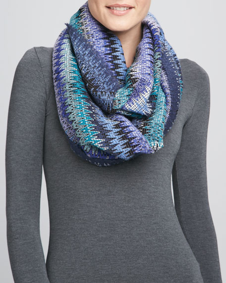 Infinity Zigzag Knit Scarf, Turquoise