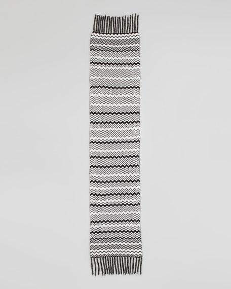 Metallic Zigzag Tassel Scarf, Black/White
