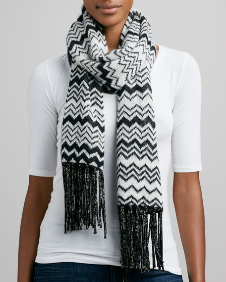 Metallic Zigzag Tassel Scarf, Black/White