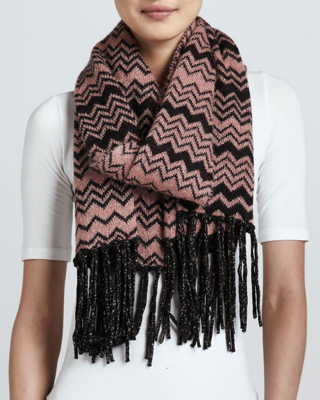 Graphic Zigzag Knit Scarf, Pink/Black