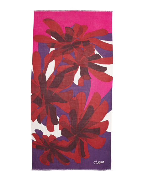 Kenley Cashmere Scarf, Floral Red