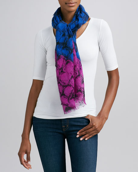 Hanover Ombre Alligator-Print Scarf