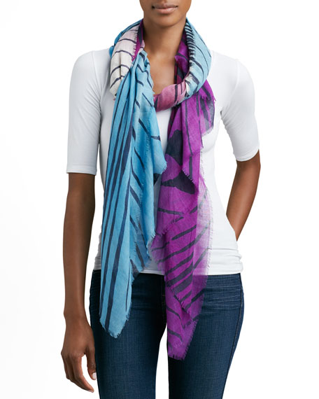 Hanover Tiger-Striped Silk/Wool Scarf, Purple