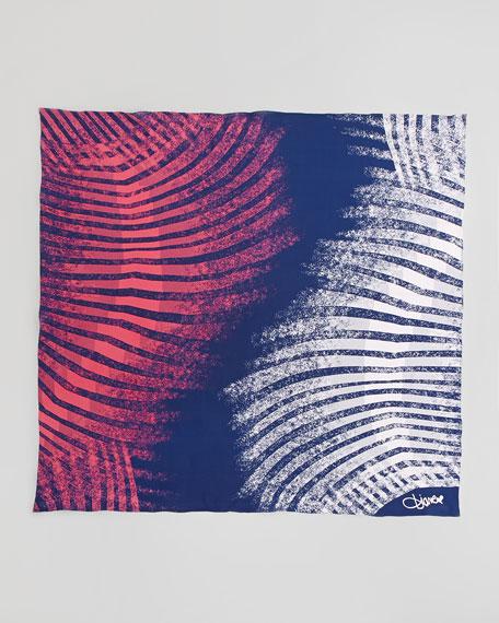 Braden Zebra-Print Square Scarf, Navy/Pink