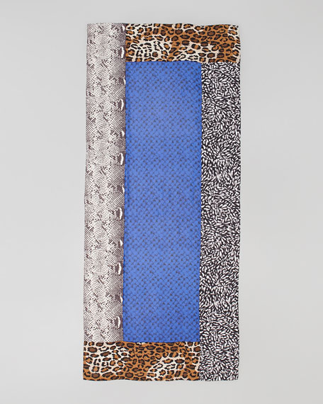 New Boomerang Multi-Print Scarf, Python Gray