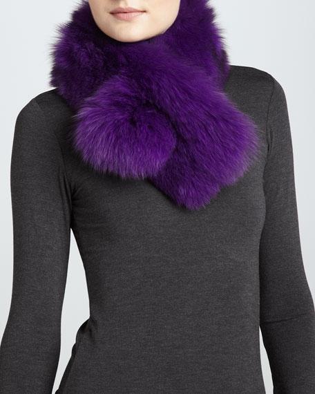 Bryan Boy Pull-Through Fur Scarf, Purple