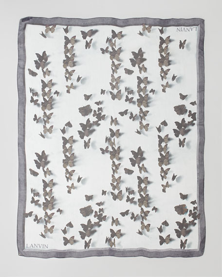 Butterfly-Print Silk Scarf, Burgundy