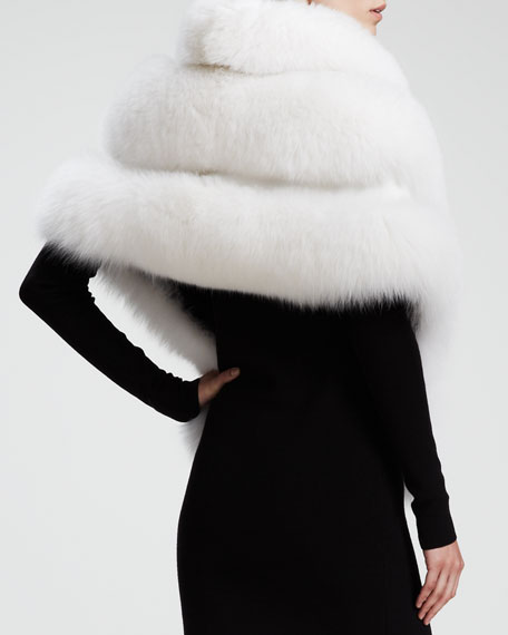 Fox Fur Capelet, White