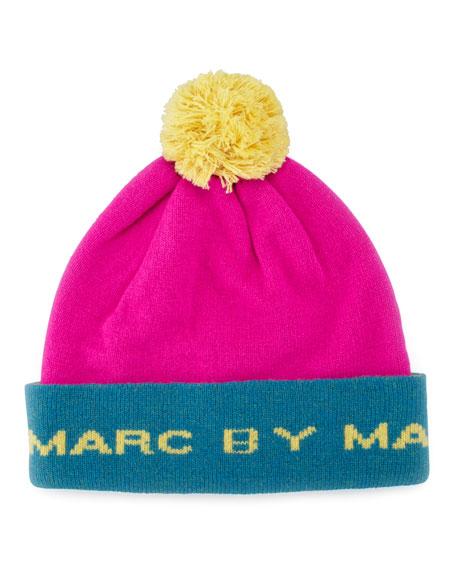 Logo Pompom Ski Hat, Pink/Yellow