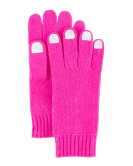 MARC by Marc Jacobs Nail-Polish-Illusion Knit Gloves, Pink/Gray